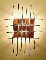 Wall lamp- sculptural element, copper and metalworked iron squares