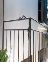 An exterior rail from metalwork
