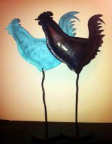 Roosters, copper and brass work