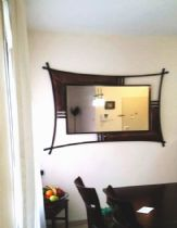 Decorated mirror, iron and copper