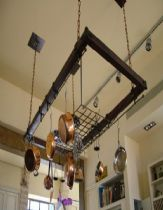 A rack for hanging pots from the ceiling from iron