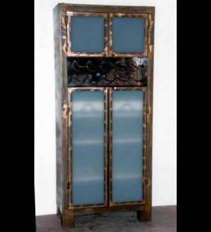 A wine cabinet made of iron and milky glass