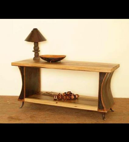 A wood and iron buffet