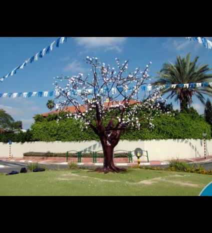 Almond tree sculpture, blacksmith iron work was placed in a central square in Ness Ziona